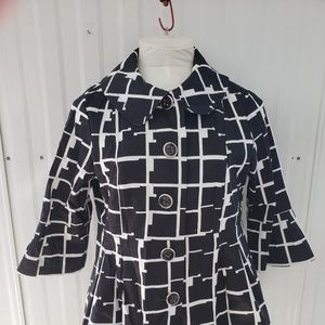 Eden Court Retro Design Jacket Black White Sz XL